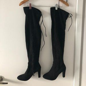 Shoes - Black Suede Over-the-Knee Boots